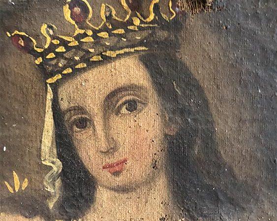 Pintura virgen del carmen deteriorada.
