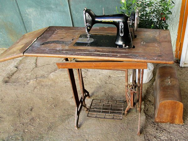 Estado inicial de la máquina de coser.
